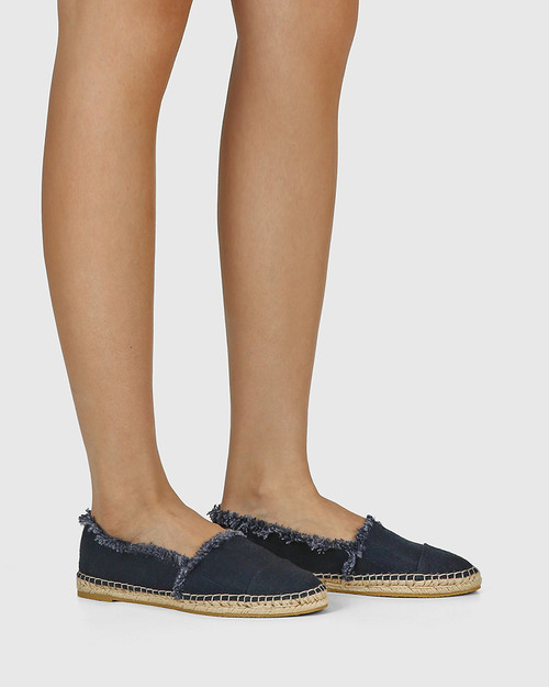 Ecstatic Navy Linen Loafer Espadrille. & Wittner & Wittner Shoes