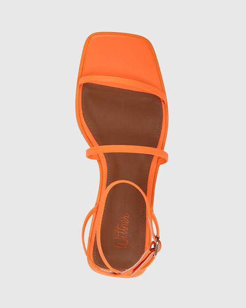 Emmy Fluro Orange Leather Flat Strappy Sandal.