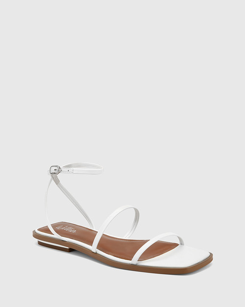 Emmy White Leather Flat Strappy Sandal.
