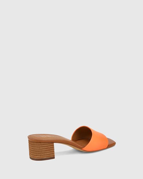 Ginnie Fluro Orange Leather Block Heel Sandal.