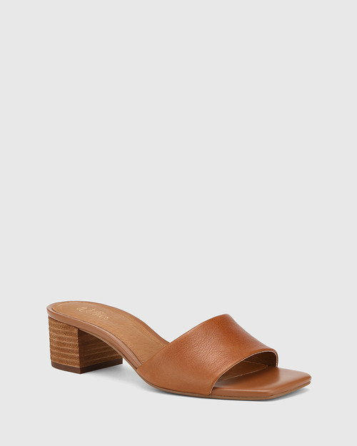 Ginnie Cognac Leather Block Heel Sandal.