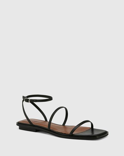 Emmy Black Leather Flat Strappy Sandal.