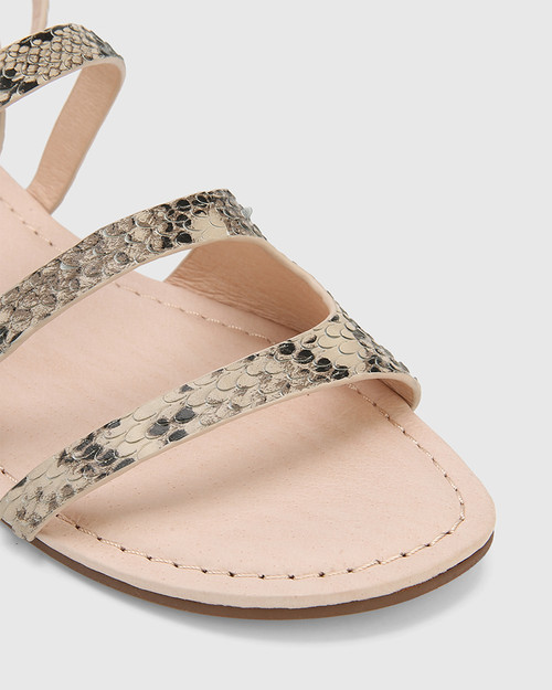 Carmeline Ecru Snake Print Leather Ankle Strap Slide.
