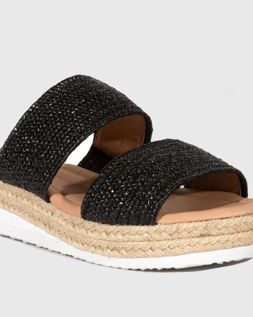 Duty Black Textured Elastic Flatform Slide. & Wittner & Wittner Shoes