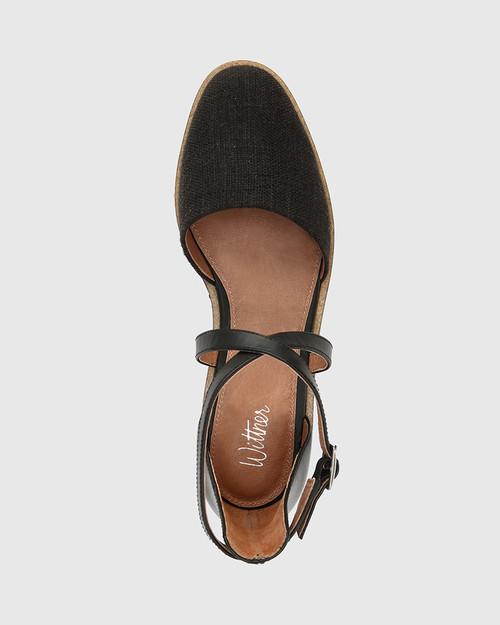 Jayko Black Leather & Canvas Round Toe Wedge.