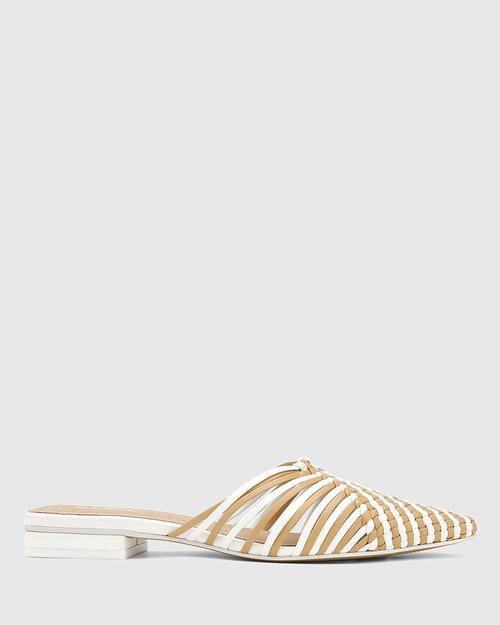 Mila White & Clay Woven Leather Block Heel Mule. & Wittner & Wittner Shoes