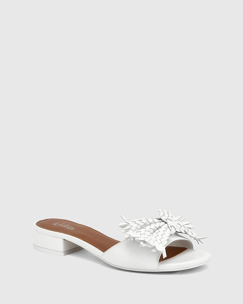 Blissful White Leather With Bow Slide.