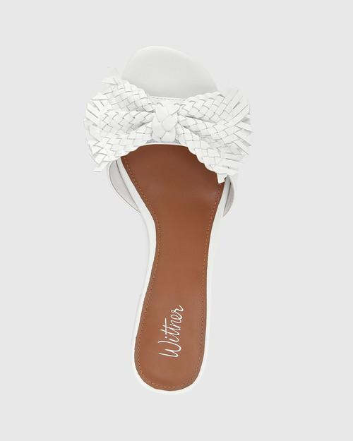 Blissful White Leather With Bow Slide. & Wittner & Wittner Shoes