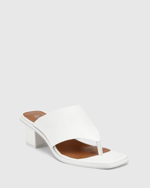 Johnson White Leather Block Heel Sandal.