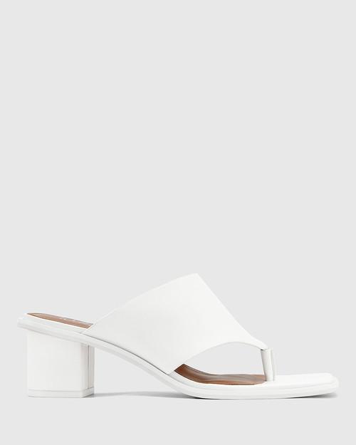 Johnson White Leather Block Heel Sandal. & Wittner & Wittner Shoes