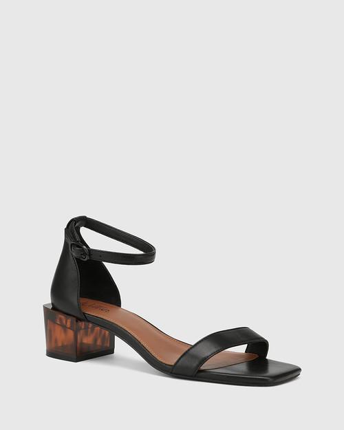 Gem Black Leather Tortoiseshell Pattern Heel Sandal.