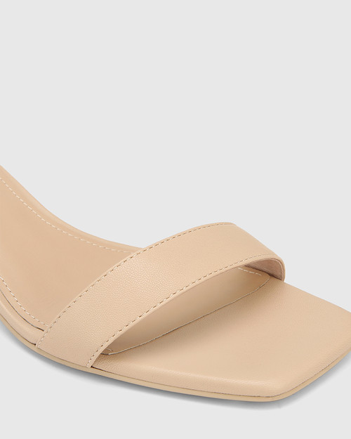Gem Ecru Leather Tortoiseshell Pattern Heel Sandal.