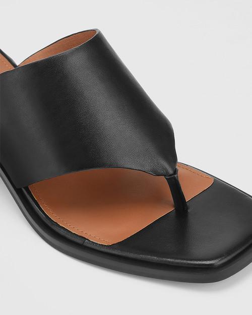 Johnson Black Leather Block Heel Sandal. & Wittner & Wittner Shoes