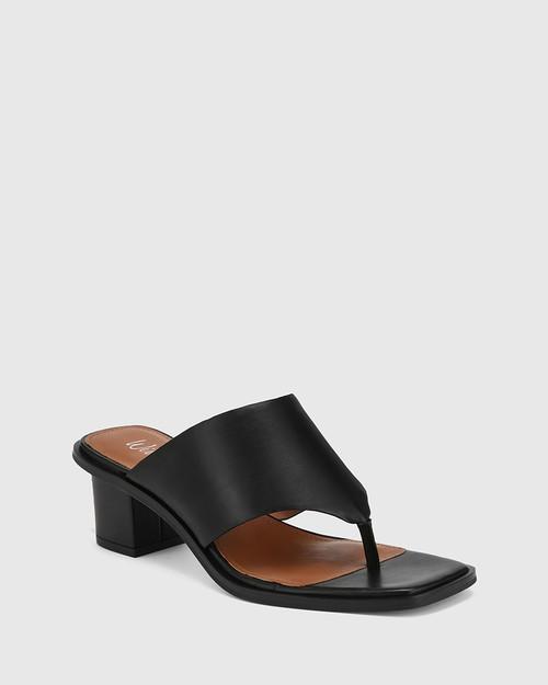 Johnson Black Leather Block Heel Sandal.