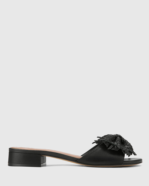 Blissful Black Leather With Bow Slide. & Wittner & Wittner Shoes