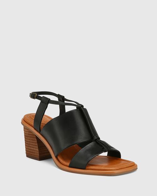 Clarion Black Leather Block Heel Sandal.