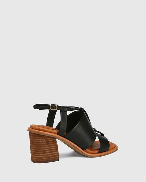 Clarion Black Leather Block Heel Sandal. & Wittner & Wittner Shoes