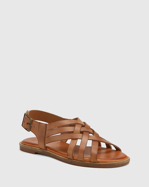 Chalamet Tan Leather Woven Strap Sandal.