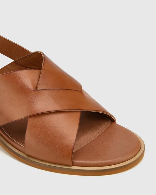 Jonie Cognac Leather Block Heel Cross Strap Sandal.