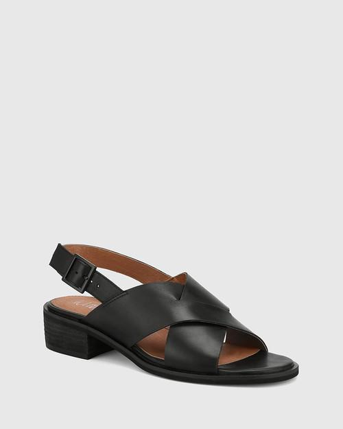 Jonie Black Leather Block Heel Cross Strap Sandal.