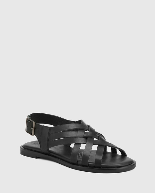 Chalamet Black Leather Woven Strap Sandal.