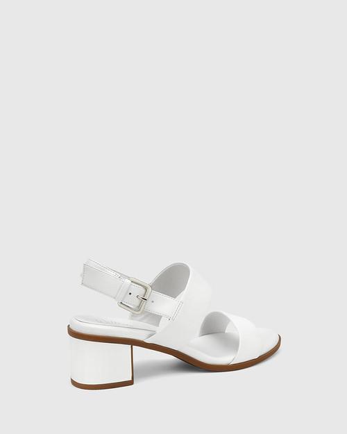 Karlie White Leather Block Heel Sandal. & Wittner & Wittner Shoes