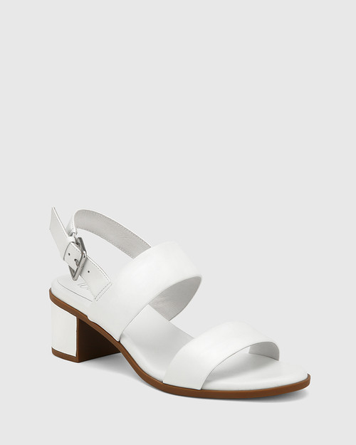 Karlie White Leather Block Heel Sandal.