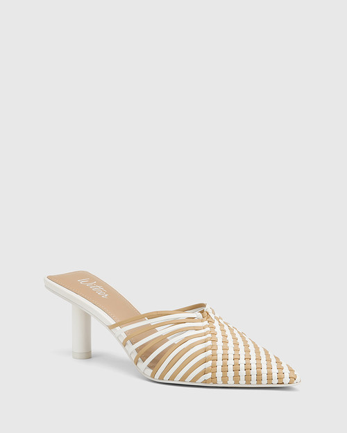 Dome White & Clay Woven Leather Stiletto Heel Mule.