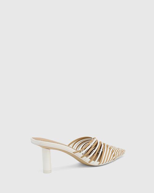 Dome White & Clay Woven Leather Stiletto Heel Mule