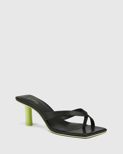 Kandie Black Leather Round Heel Square Toe Sandal.