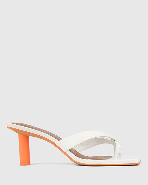 Kandie White Leather Round Heel Square Toe Sandal. & Wittner & Wittner Shoes