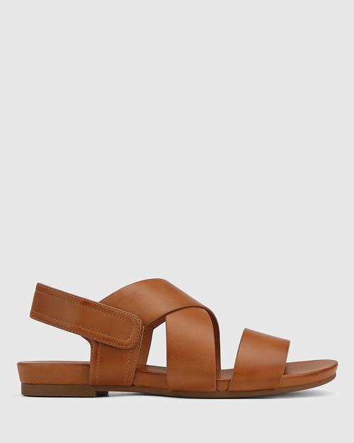 Leena Tan Leather Open Toe Flat Sandal. & Wittner & Wittner Shoes