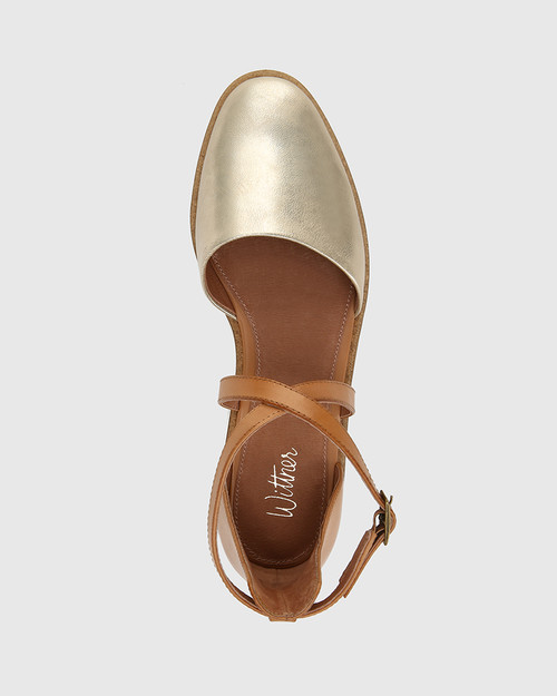 Jayko Pearl Gold and Tan Leather Round Toe Wedge. & Wittner & Wittner Shoes
