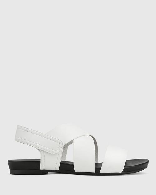 Leena White Leather Open Toe Flat Sandal. & Wittner & Wittner Shoes