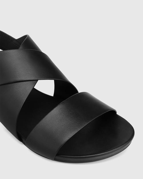 Leena Black Leather Open Toe Flat Sandal. & Wittner & Wittner Shoes