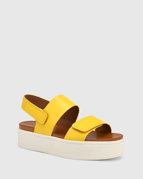 Jolly Yellow Leather Slingback Flatform Sandal.