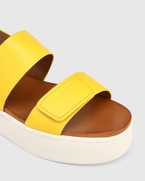 Jolly Yellow Leather Slingback Flatform Sandal. & Wittner & Wittner Shoes