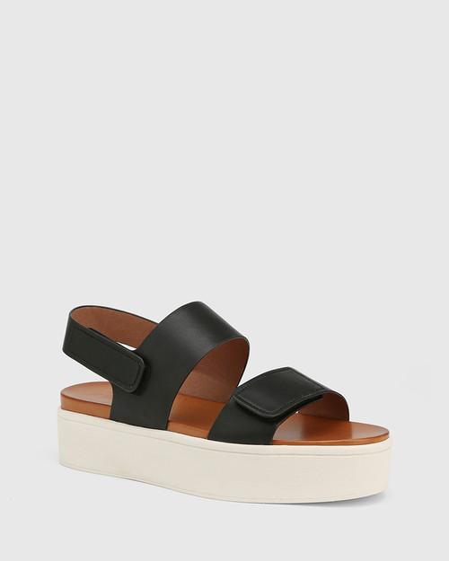 Jolly Black Leather Slingback Flatform Sandal.