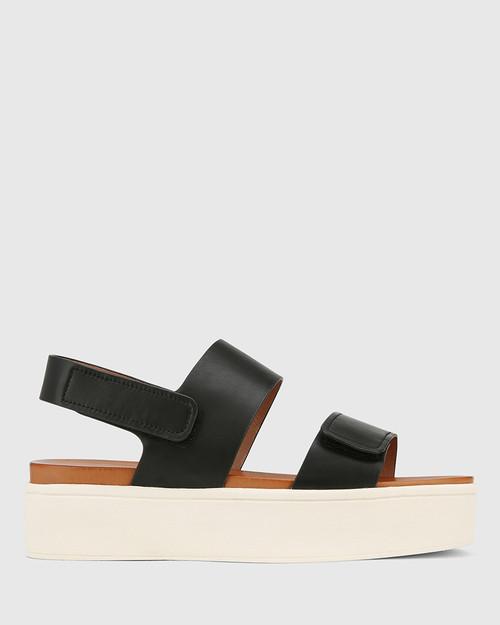 Jolly Black Leather Slingback Flatform Sandal. & Wittner & Wittner Shoes