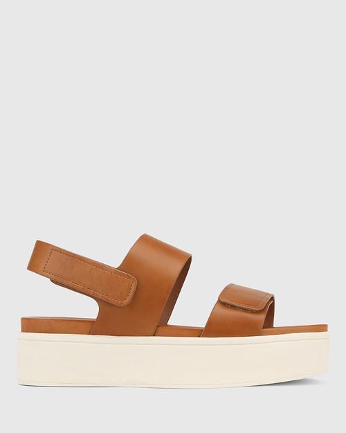 Jolly Tan Leather Slingback Flatform Sandal. & Wittner & Wittner Shoes