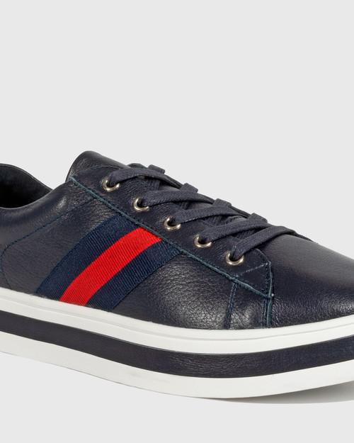 Belgium Deep Ocean Leather Lace Up Flatform Sneaker. & Wittner & Wittner Shoes