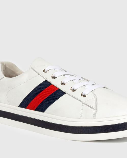 Belgium White Leather Lace Up Flatform Sneaker. & Wittner & Wittner Shoes