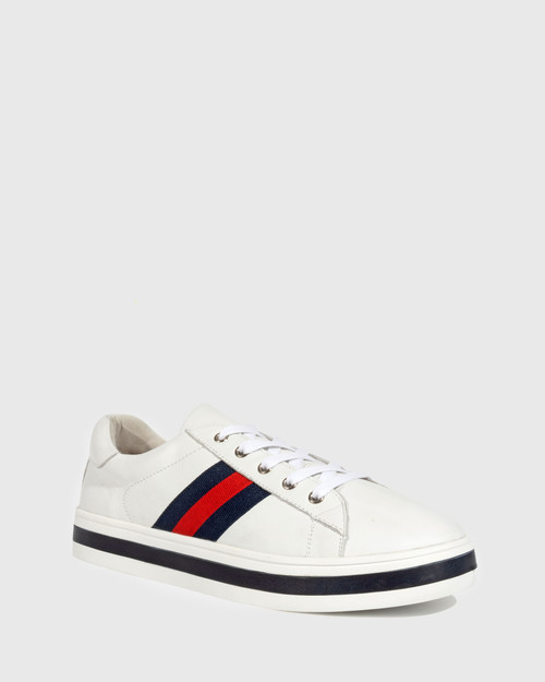 Belgium White Leather Lace Up Flatform Sneaker.