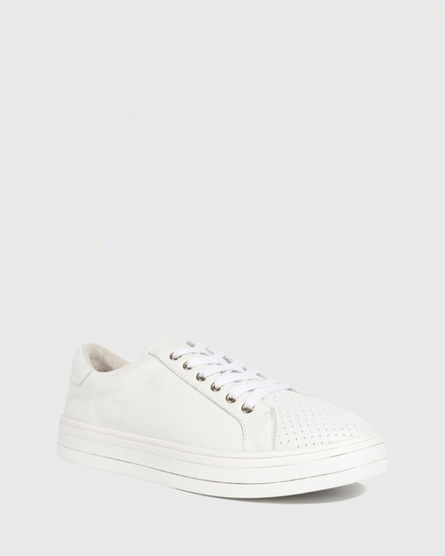 Bristol White Leather Lace Up Flatform Sneaker.