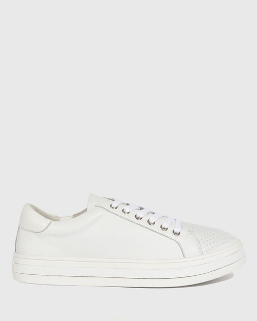 Bristol White Leather Lace Up Flatform Sneaker. & Wittner & Wittner Shoes