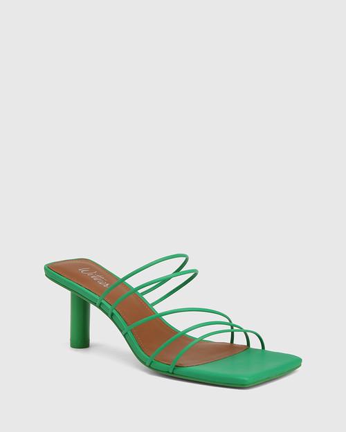 Klaire Green Leather Strappy Square Toe Sandal.