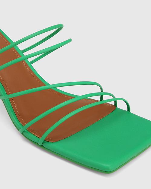 Klaire Green Leather Strappy Square Toe Sandal. & Wittner & Wittner Shoes