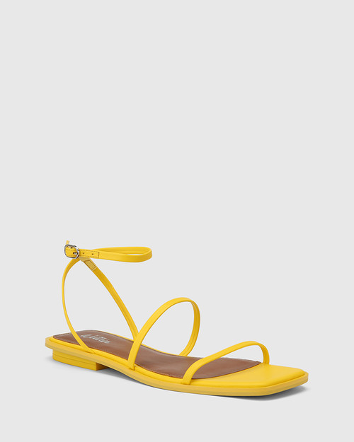 Emmy Yellow Leather Flat Strappy Sandal.