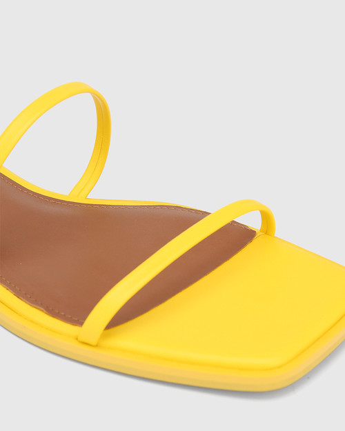 Emmy Yellow Leather Flat Strappy Sandal. & Wittner & Wittner Shoes