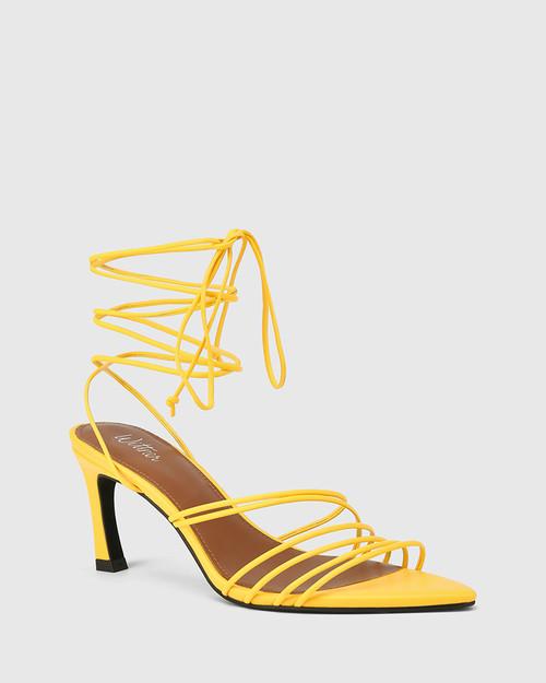 Raelynn Yellow Leather Strappy Sandal.